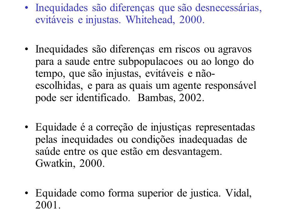 Inequidades são diferenças que são desnecessárias, evitáveis e injustas. Whitehead, 2000.