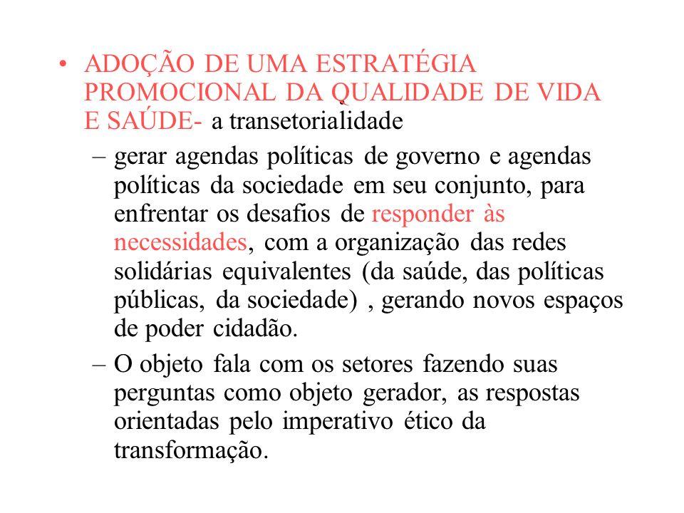ADOÇÃO DE UMA ESTRATÉGIA PROMOCIONAL DA QUALIDADE DE VIDA E SAÚDE- a transetorialidade