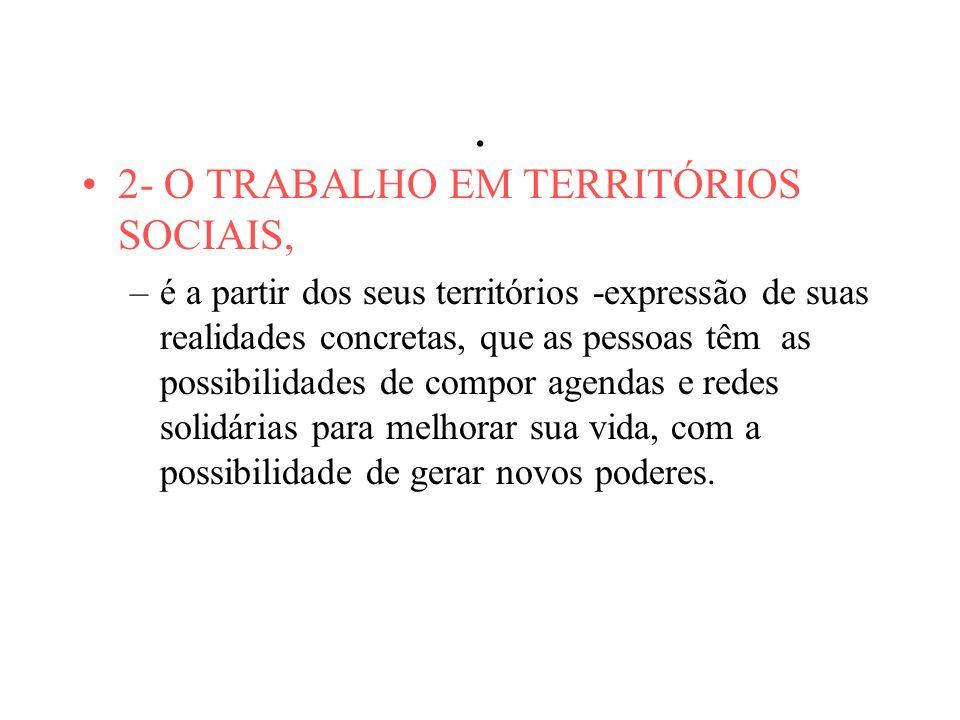 . 2- O TRABALHO EM TERRITÓRIOS SOCIAIS,