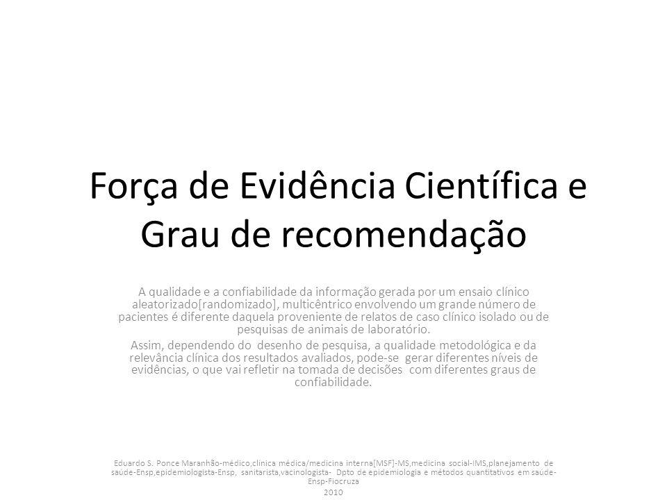 Força de Evidência Científica e Grau de recomendação