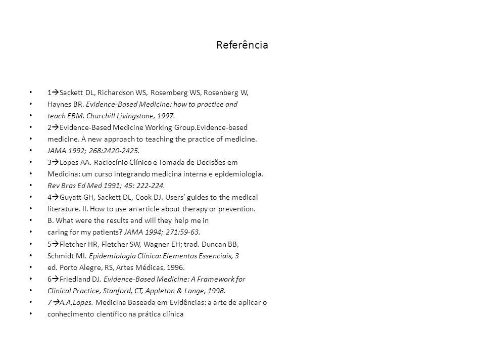 Referência 1Sackett DL, Richardson WS, Rosemberg WS, Rosenberg W,