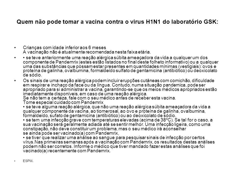 Quem não pode tomar a vacina contra o virus H1N1 do laboratório GSK: