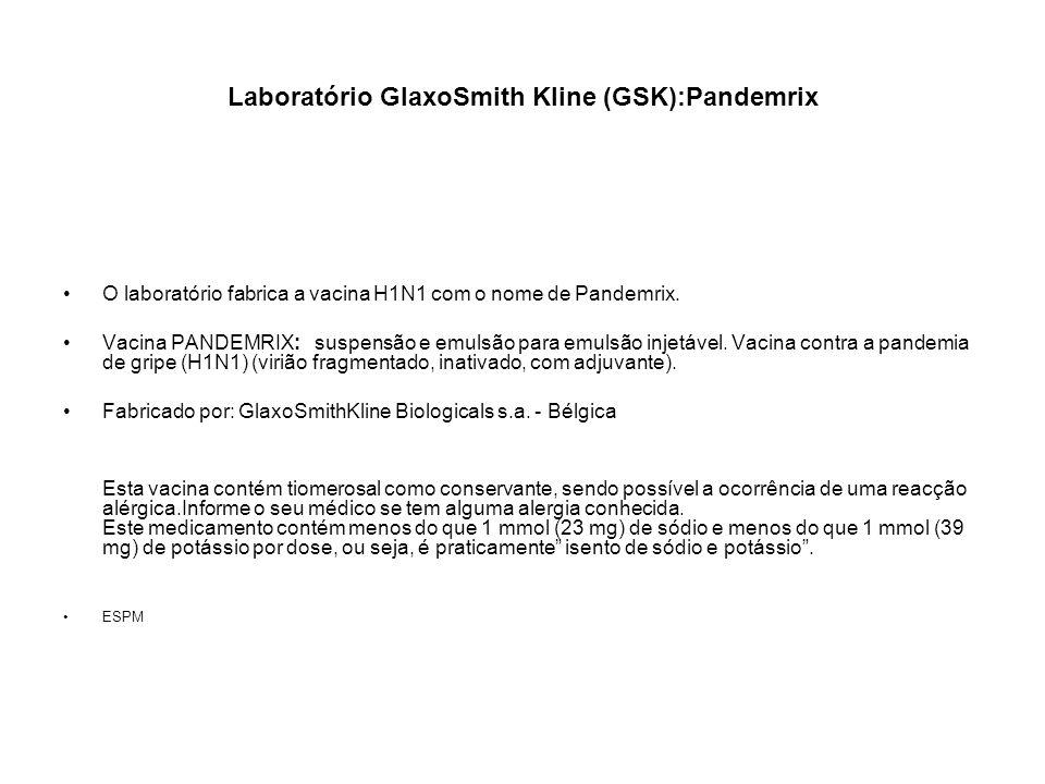 Laboratório GlaxoSmith Kline (GSK):Pandemrix