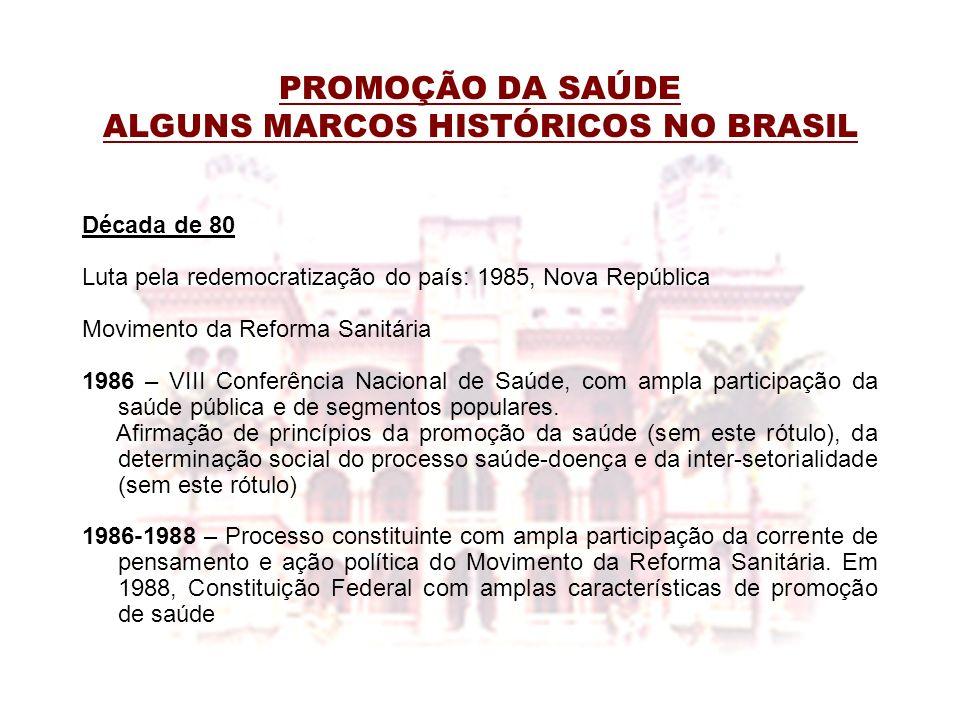 PROMOÇÃO DA SAÚDE ALGUNS MARCOS HISTÓRICOS NO BRASIL