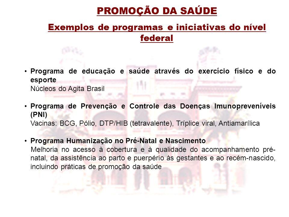 Exemplos de programas e iniciativas do nível federal