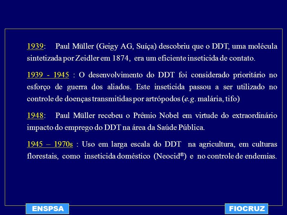 1939: Paul Müller (Geigy AG, Suíça) descobriu que o DDT, uma molécula sintetizada por Zeidler em 1874, era um eficiente inseticida de contato.