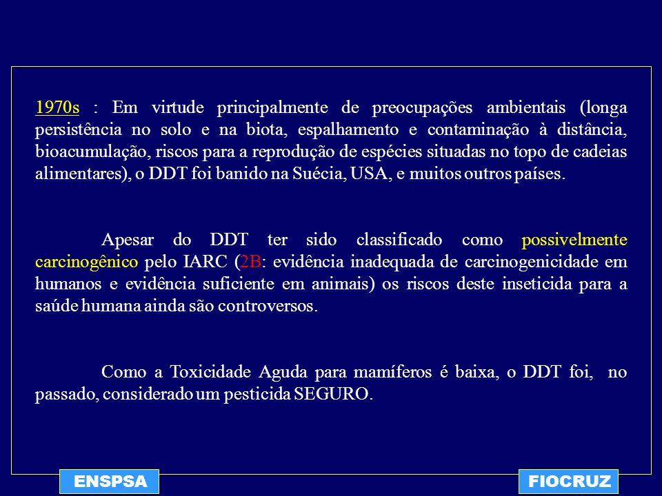 1970s : Em virtude principalmente de preocupações ambientais (longa persistência no solo e na biota, espalhamento e contaminação à distância, bioacumulação, riscos para a reprodução de espécies situadas no topo de cadeias alimentares), o DDT foi banido na Suécia, USA, e muitos outros países.