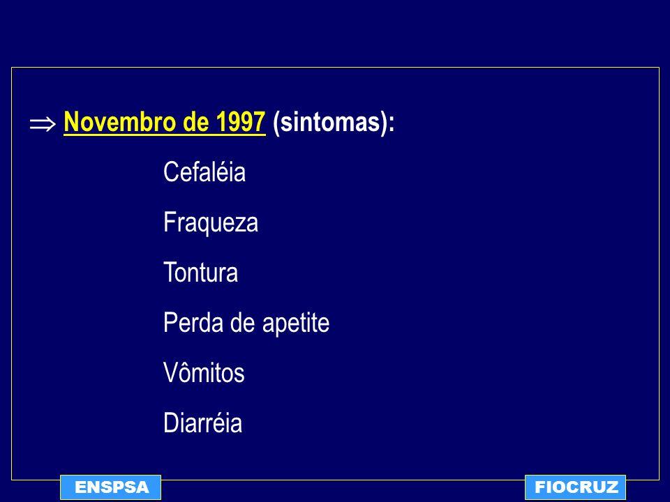  Novembro de 1997 (sintomas): Cefaléia Fraqueza Tontura