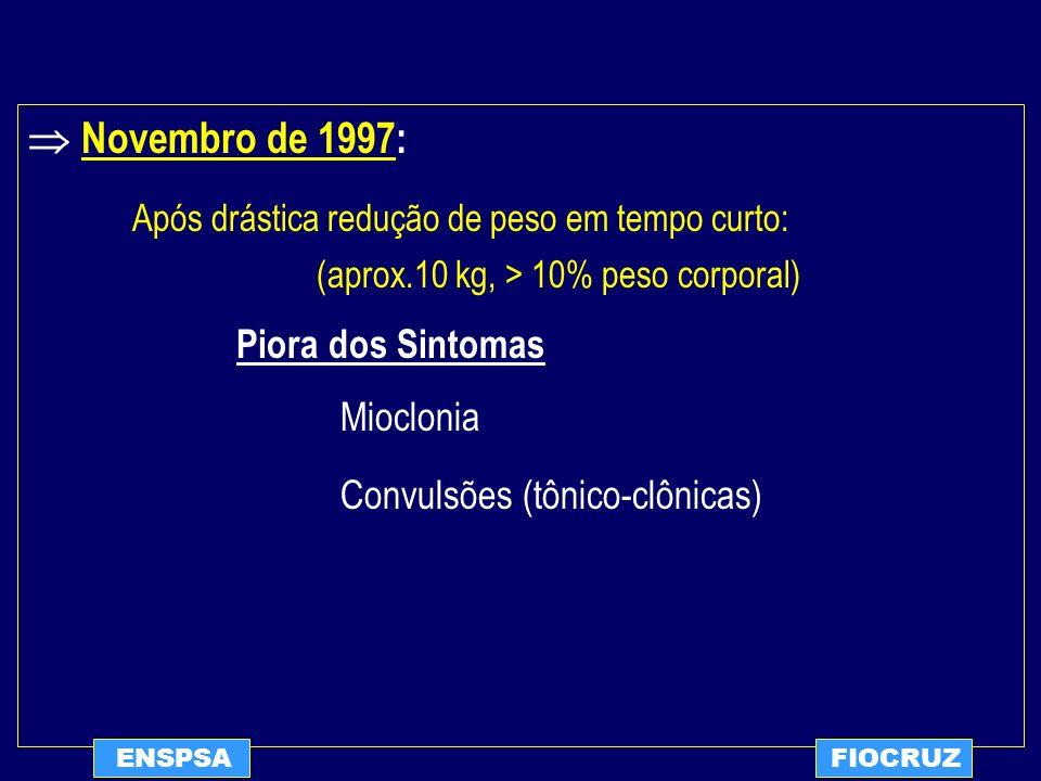  Novembro de 1997: Após drástica redução de peso em tempo curto: