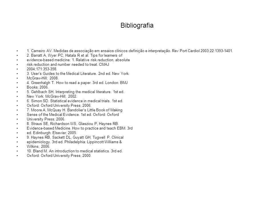 Bibliografia 1. Carneiro AV. Medidas de associação em ensaios clínicos:definição e interpretação. Rev Port Cardiol 2003;22:1393-1401.