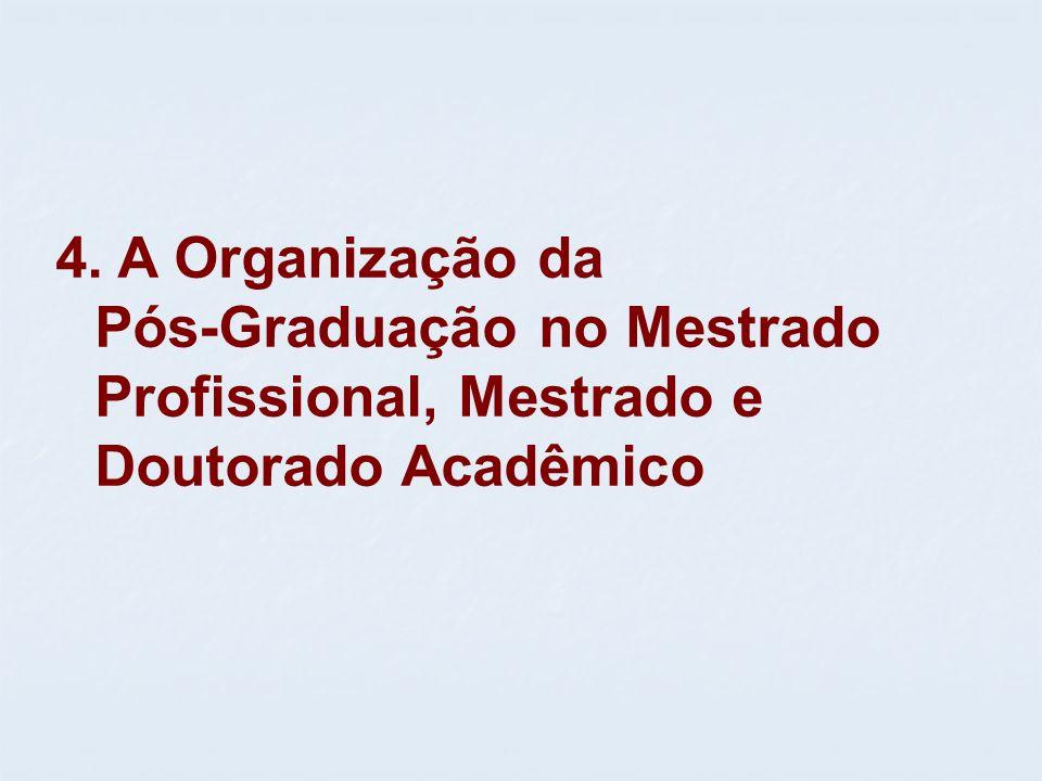 4. A Organização da Pós-Graduação no Mestrado Profissional, Mestrado e Doutorado Acadêmico