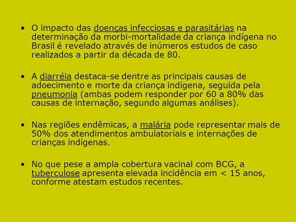 O impacto das doenças infecciosas e parasitárias na determinação da morbi-mortalidade da criança indígena no Brasil é revelado através de inúmeros estudos de caso realizados a partir da década de 80.