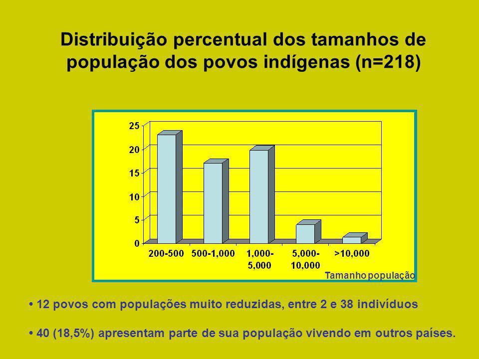 Distribuição percentual dos tamanhos de população dos povos indígenas (n=218)