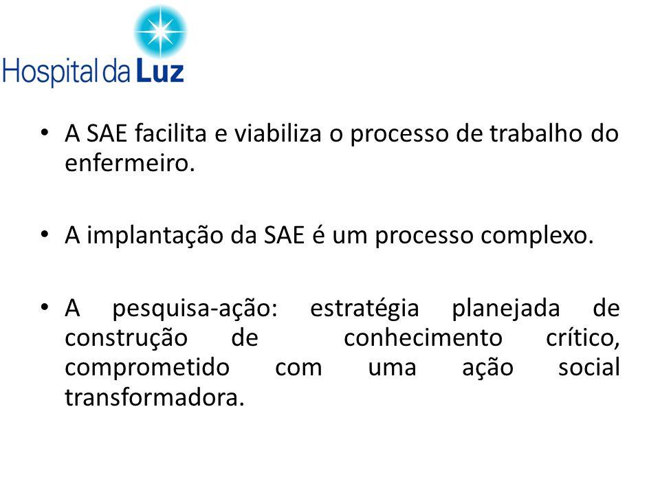 A SAE facilita e viabiliza o processo de trabalho do enfermeiro.
