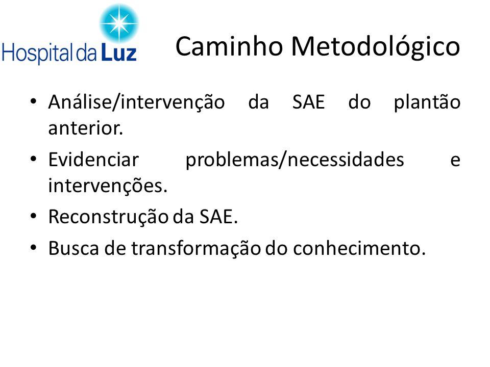 Caminho Metodológico Análise/intervenção da SAE do plantão anterior.