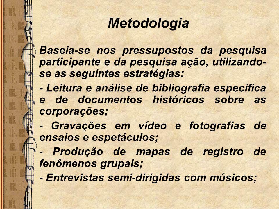 Metodologia Baseia-se nos pressupostos da pesquisa participante e da pesquisa ação, utilizando-se as seguintes estratégias: