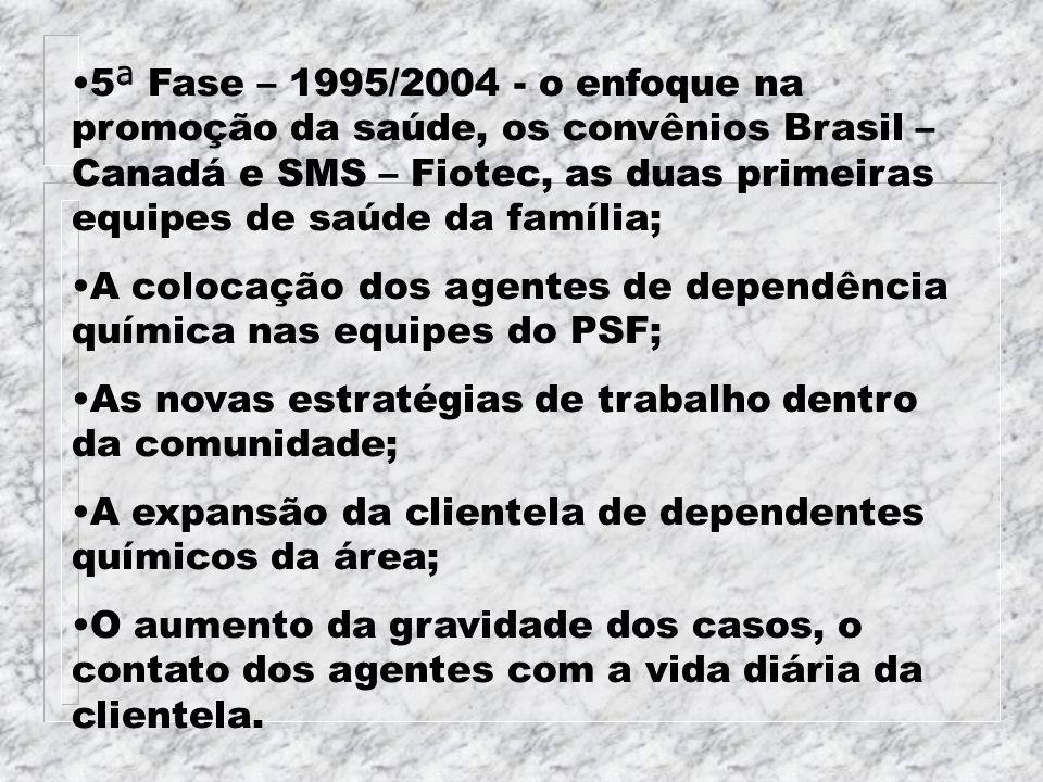 5ª Fase – 1995/2004 - o enfoque na promoção da saúde, os convênios Brasil – Canadá e SMS – Fiotec, as duas primeiras equipes de saúde da família;