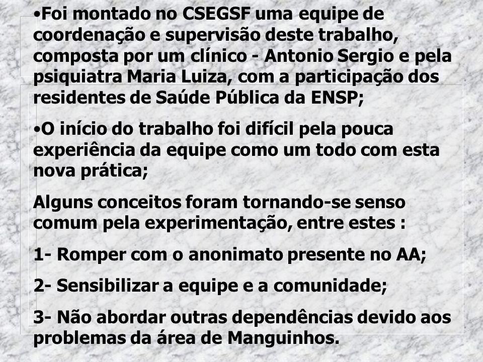Foi montado no CSEGSF uma equipe de coordenação e supervisão deste trabalho, composta por um clínico - Antonio Sergio e pela psiquiatra Maria Luiza, com a participação dos residentes de Saúde Pública da ENSP;