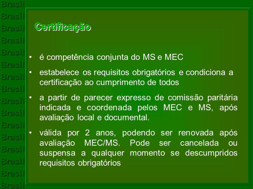 Certificação é competência conjunta do MS e MEC