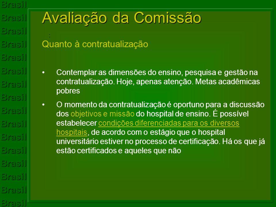 Avaliação da Comissão Quanto à contratualização