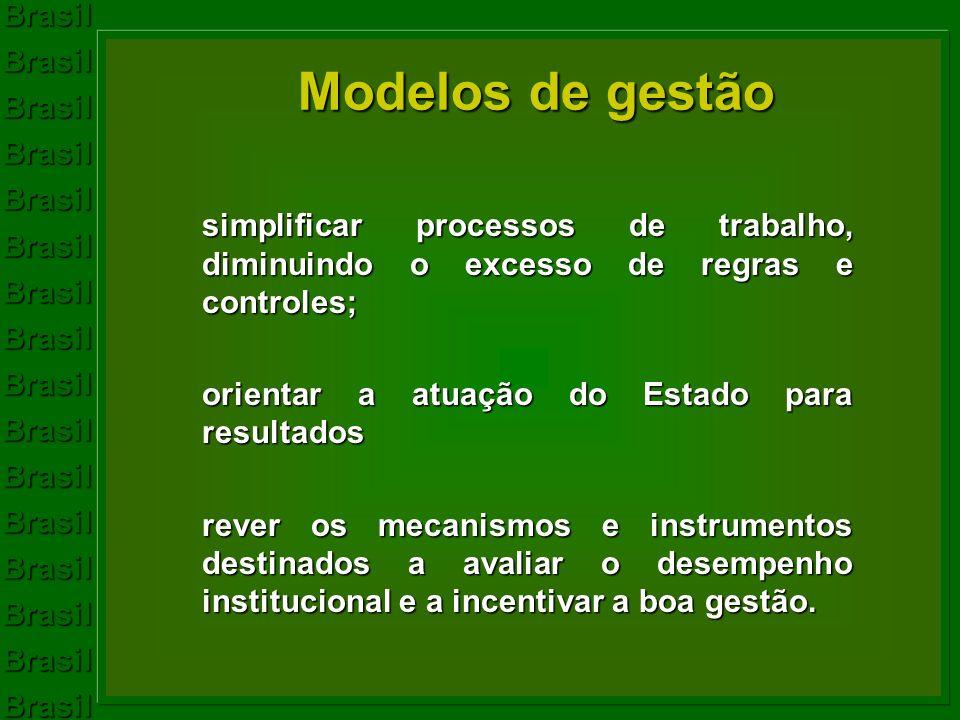 Modelos de gestão simplificar processos de trabalho, diminuindo o excesso de regras e controles; orientar a atuação do Estado para resultados.