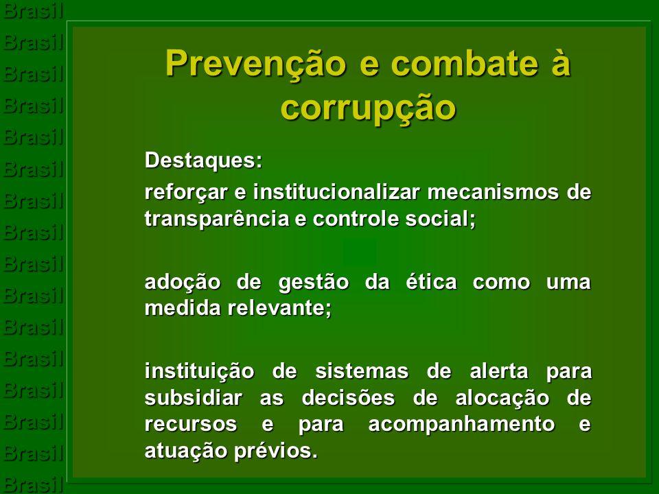 Prevenção e combate à corrupção