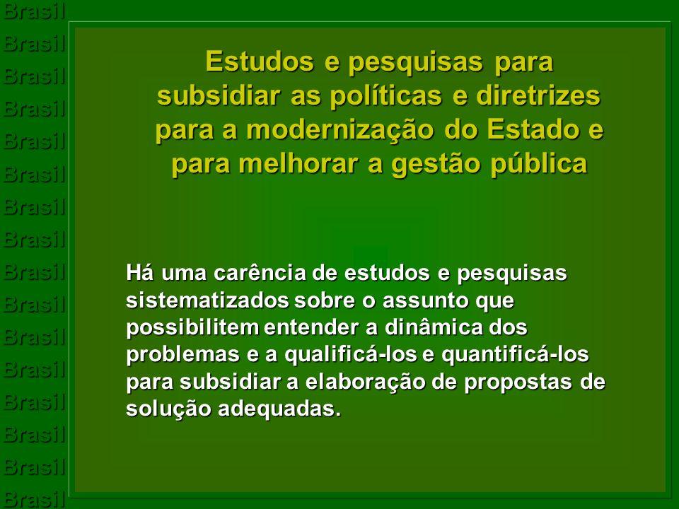 Estudos e pesquisas para subsidiar as políticas e diretrizes para a modernização do Estado e para melhorar a gestão pública