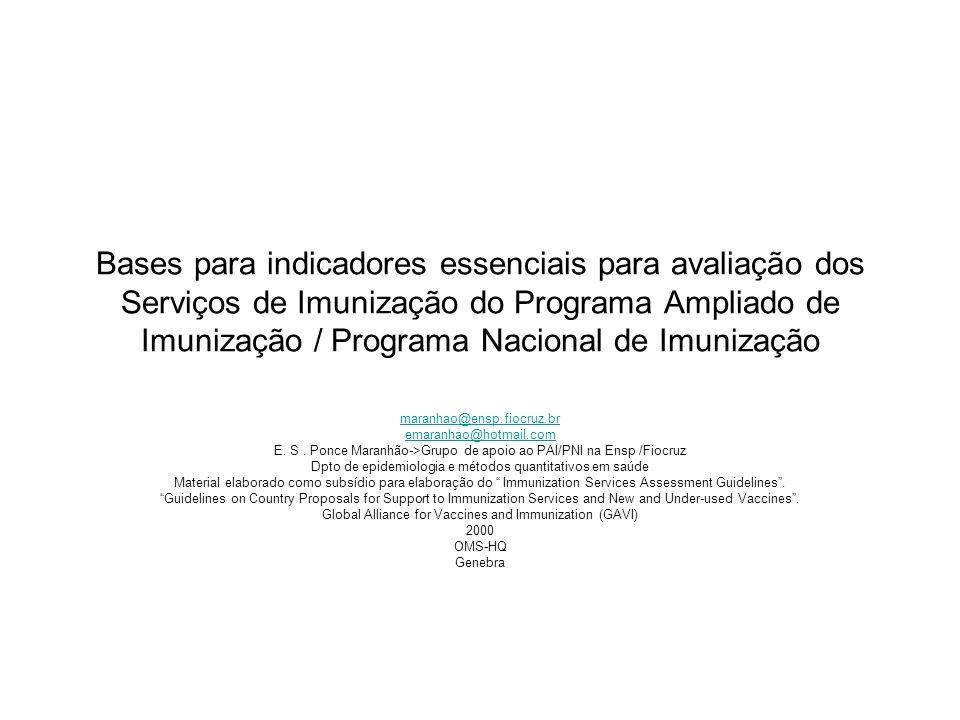 Bases para indicadores essenciais para avaliação dos Serviços de Imunização do Programa Ampliado de Imunização / Programa Nacional de Imunização