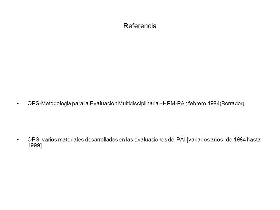 Referencia OPS-Metodologia para la Evaluación Multidisciplinaria –HPM-PAI; febrero,1984(Borrador)