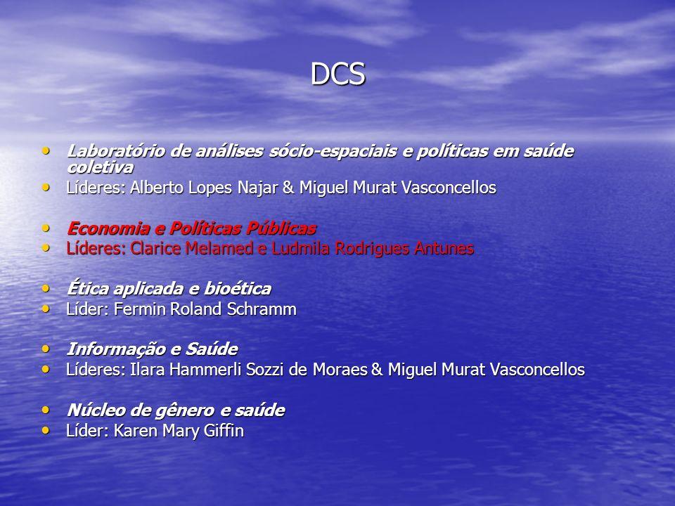 DCS Laboratório de análises sócio-espaciais e políticas em saúde coletiva. Líderes: Alberto Lopes Najar & Miguel Murat Vasconcellos.