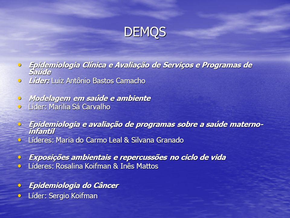 DEMQS Epidemiologia Clínica e Avaliação de Serviços e Programas de Saúde. Líder: Luiz Antônio Bastos Camacho.