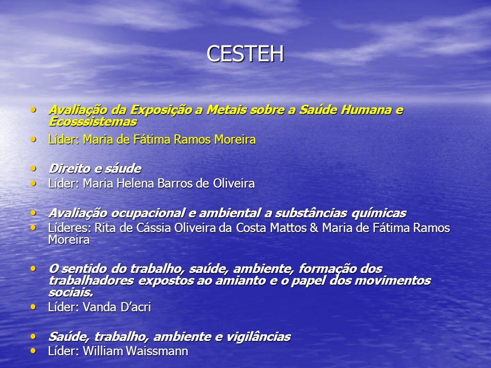 CESTEH Avaliação da Exposição a Metais sobre a Saúde Humana e Ecosssistemas. Líder: Maria de Fátima Ramos Moreira.