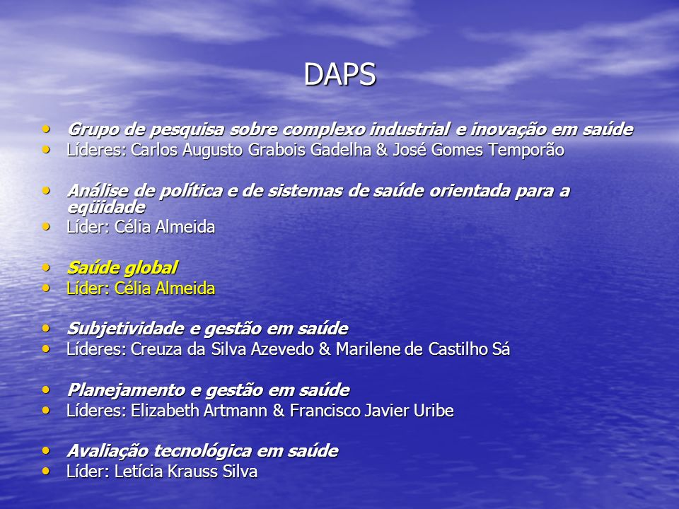 DAPS Grupo de pesquisa sobre complexo industrial e inovação em saúde