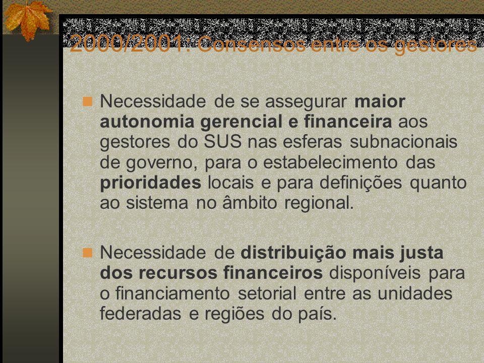 2000/2001: Consensos entre os gestores