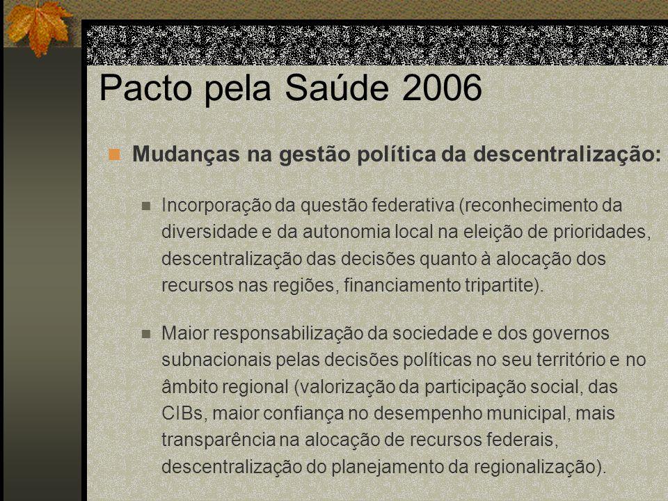 Pacto pela Saúde 2006 Mudanças na gestão política da descentralização: