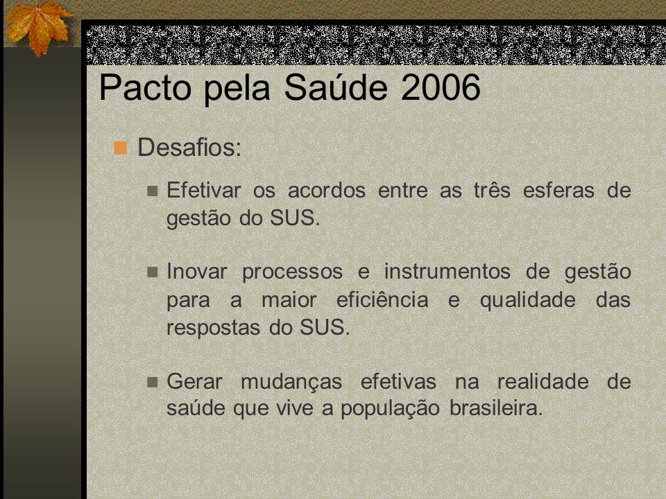 Pacto pela Saúde 2006 Desafios: