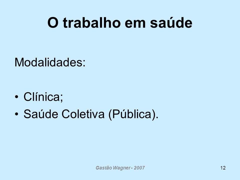 O trabalho em saúde Modalidades: Clínica; Saúde Coletiva (Pública).
