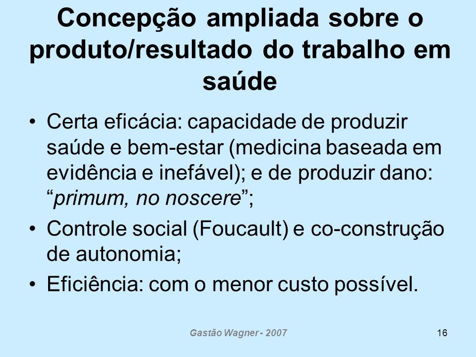 Concepção ampliada sobre o produto/resultado do trabalho em saúde