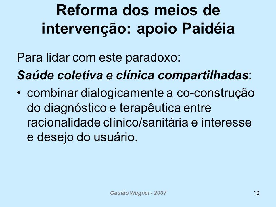 Reforma dos meios de intervenção: apoio Paidéia