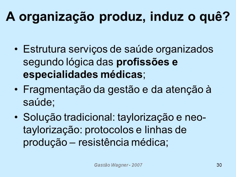 A organização produz, induz o quê