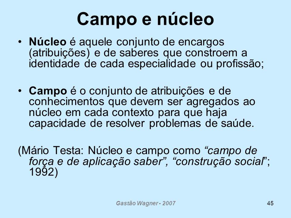 Campo e núcleo Núcleo é aquele conjunto de encargos (atribuições) e de saberes que constroem a identidade de cada especialidade ou profissão;