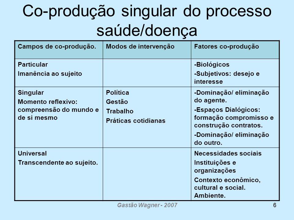 Co-produção singular do processo saúde/doença