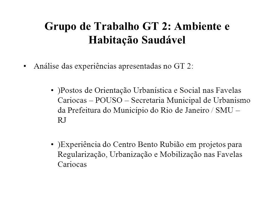 Grupo de Trabalho GT 2: Ambiente e Habitação Saudável