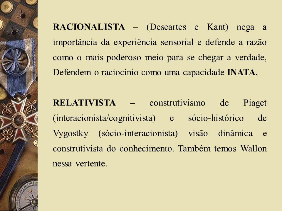 RACIONALISTA – (Descartes e Kant) nega a importância da experiência sensorial e defende a razão como o mais poderoso meio para se chegar a verdade, Defendem o raciocínio como uma capacidade INATA.