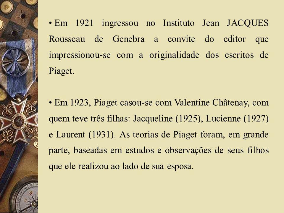 Em 1921 ingressou no Instituto Jean JACQUES Rousseau de Genebra a convite do editor que impressionou-se com a originalidade dos escritos de Piaget.