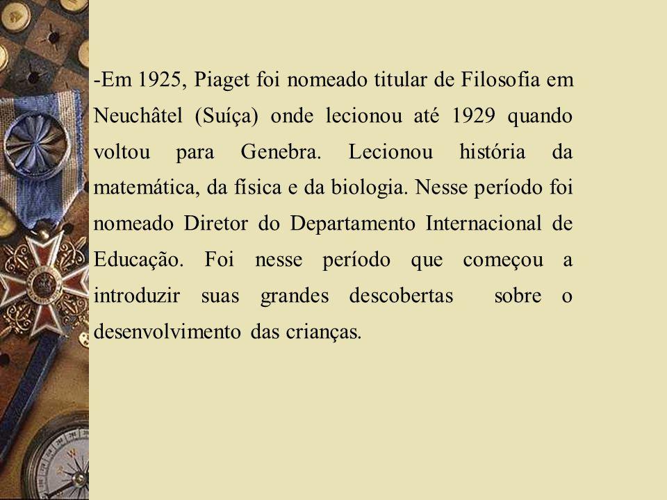 Em 1925, Piaget foi nomeado titular de Filosofia em Neuchâtel (Suíça) onde lecionou até 1929 quando voltou para Genebra.