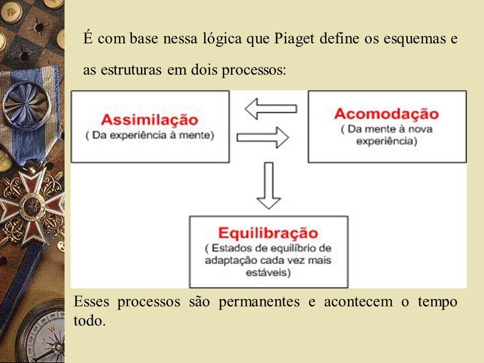 É com base nessa lógica que Piaget define os esquemas e as estruturas em dois processos: