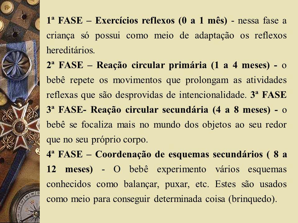 1ª FASE – Exercícios reflexos (0 a 1 mês) - nessa fase a criança só possui como meio de adaptação os reflexos hereditários.