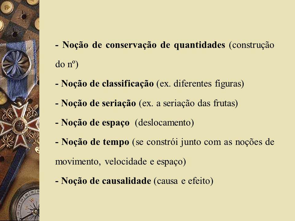 - Noção de conservação de quantidades (construção do nº)