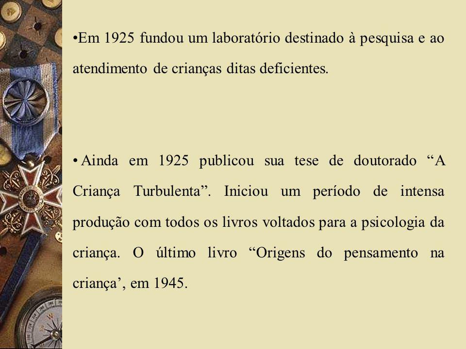 Em 1925 fundou um laboratório destinado à pesquisa e ao atendimento de crianças ditas deficientes.